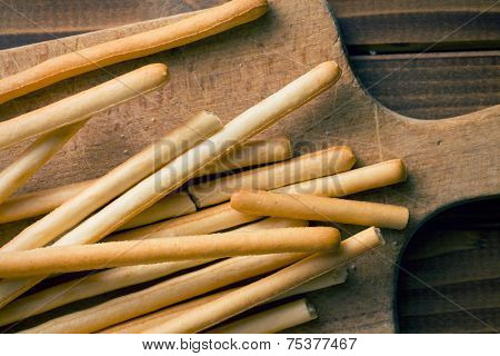 top view of breadsticks grissini