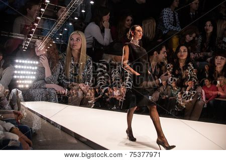 MOSCOW - OCTOBER 25: A model displays a creation by Russian designer Elena Souproun during Mercedes-Benz Fashion Week Russia on October 25, 2014 in Moscow, Russia.