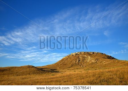 Butte Formation with Blue Sky