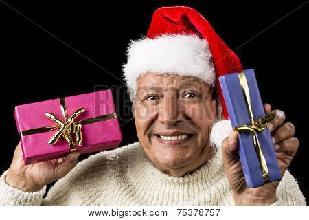 Lighthearted, Smiling Old Man Offering Two Gifts