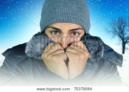 young man who complains about the cold
