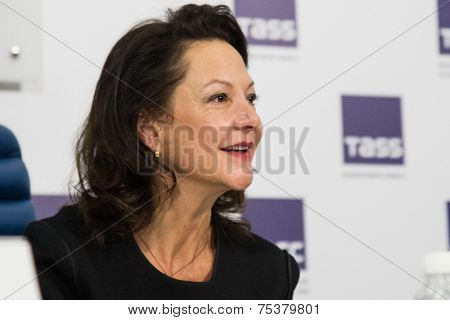 MOSCOW, RUSSIA, October, 28: gabrielle tana. Press Conference. October, 28, 2014 at TASS agency in Moscow, Russia