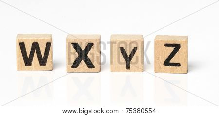 Words. Toy bricks on a white background