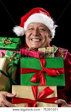 Merry Old Man With Broad Grin Loaded With Gifts