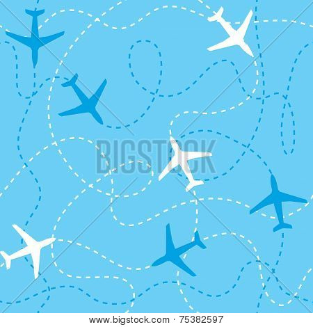 Seamless background airplanes flying with dashed lines as tracks or routes on blue sky.