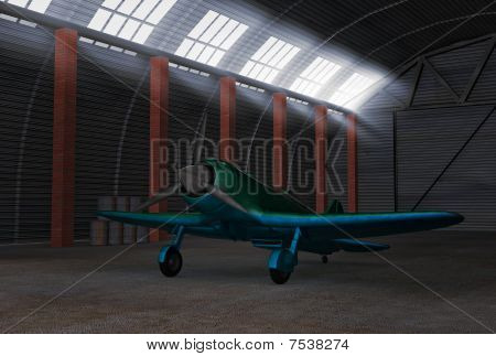 Fighter airplane in hangar