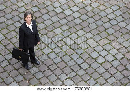 Bird's-eye View Of A Businesswoman In The Street