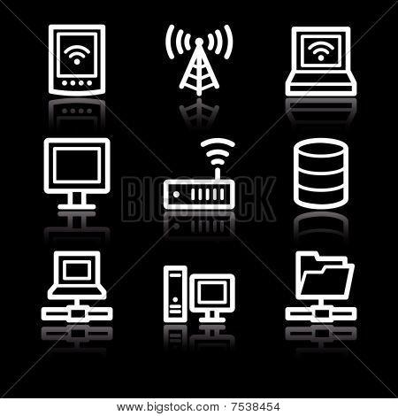White contour network web icons V2
