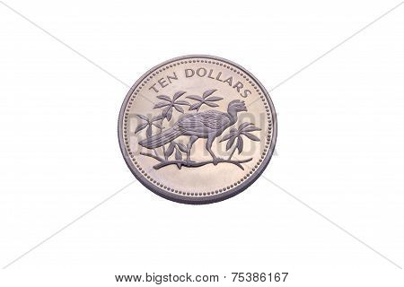 Ten Dollars Silver Coin From Belize