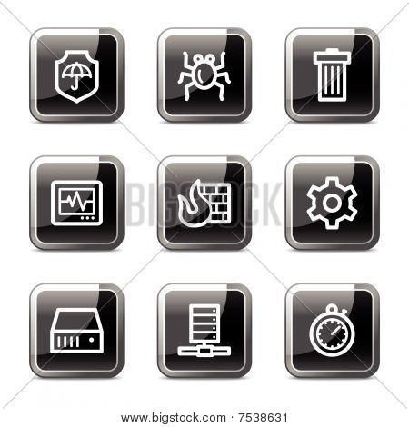 Internet security web icons, black square glossy buttons series