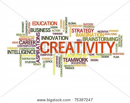 Creativity related words concept in word tag cloud