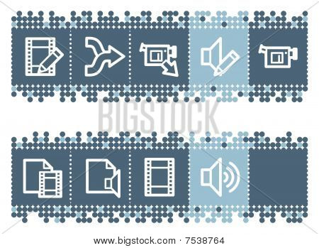 Blue dots bar with audio video edit web icons