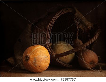 Still-life with a vegetable marrow and a pumpkin