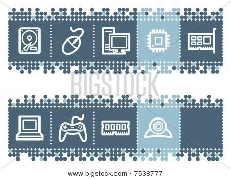 Blue dots bar with computer web icons