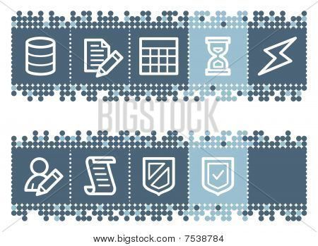 Blue dots bar with database web icons