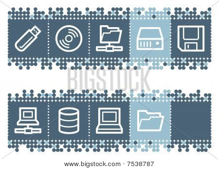 Blue dots bar with drives and storage web icons