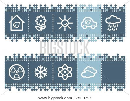 Blue dots bar with ecology web icons set 2