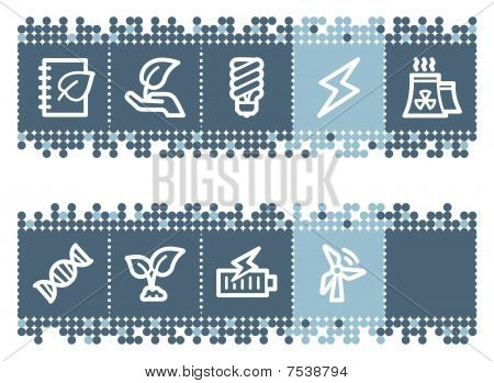 Blue dots bar with ecology web icons set 5