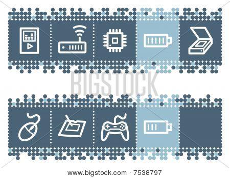 Blue dots bar with electronics web icons set 2