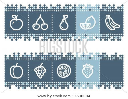 Blue dots bar with fruits web icons