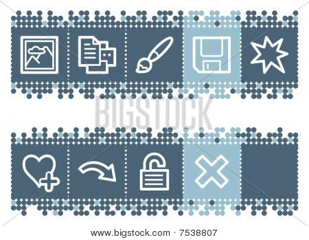 Blue dots bar with image viewer web icons set 2