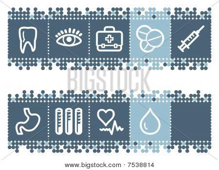 Blue dots bar with medicine web icons set 1