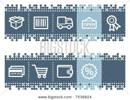 Blue dots bar with basic shopping icons set 2