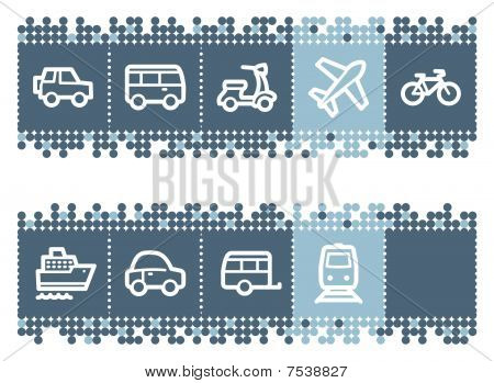 Blue dots bar with transport web icons