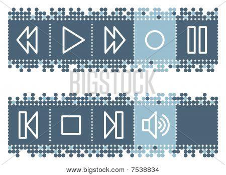 Blue dots bar with walkman web icons