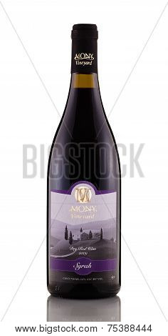 One Bottle Of Dry Red Wine Mony Syrah 2009