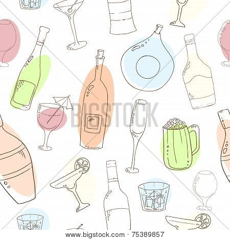 Wine and cocktail seamless background.