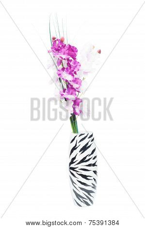 Beautiful Gladiolus Flower In A Vase On A White Background