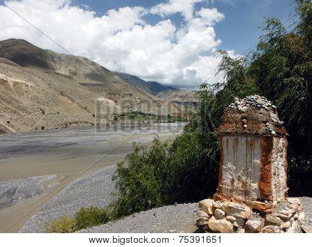 Chorten Near River Delta And Himalayas