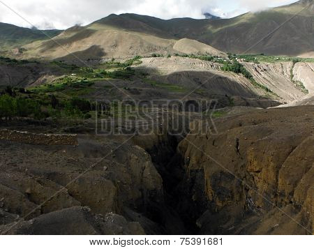 Gorge In Dry Himalayan Agricultural Land