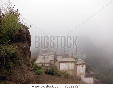 Himalayan Town Shrouded In Monsoon Cloud