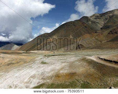 Salt Field In Dry Himalayan Landscape