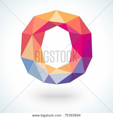 Number zero in modern polygonal crystal style. Vector illustration