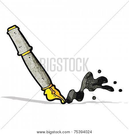cartoon messy fountain pen