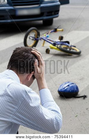 Worried Man After A Crash