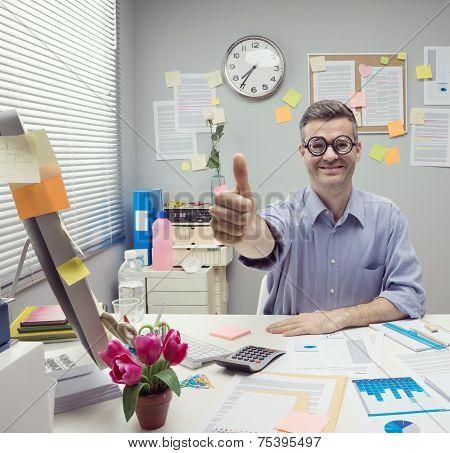 Nerd Businessman Thumbs Up
