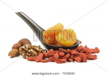 Dried Apricots On A Spoon