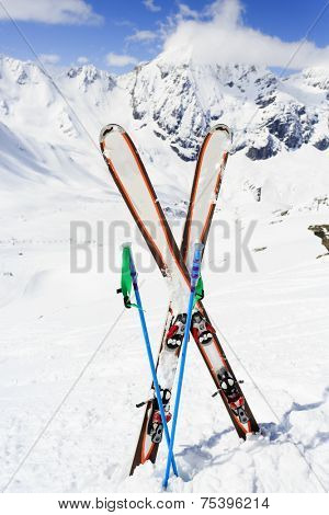 Skiing , mountains and ski equipments - ski vacation