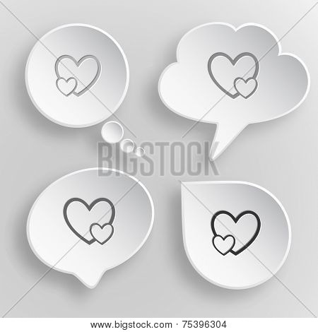 Careful heart. White flat raster buttons on gray background.