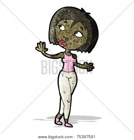 cartoon curious woman