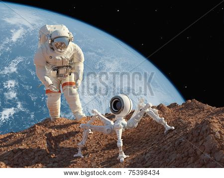 Astronaut and robot on the planet