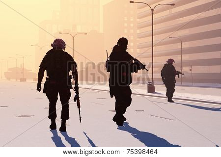 The group  of the soldier on the streets of a modern city.