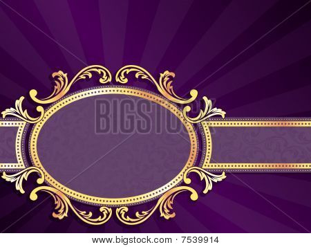 Purple horizontal label with gold filigree