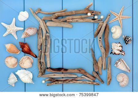 Sea shell collage and driftwood frame over wooden blue background.