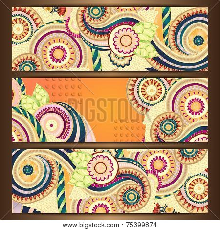 Ethnic Pattern Cards With Paisley Doodles.