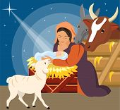 picture of nativity scene  - Vector Illustration - Christmas Christian nativity scene with baby Jesus 